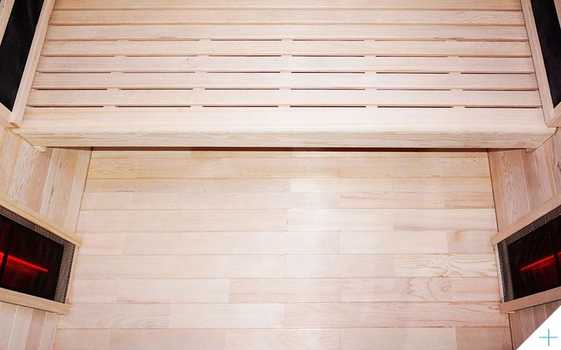 Sauna infrarouge en bois de pruche avec radiateurs, panneau de commande
