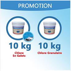 10 Kg De Chlore Granulaire + 10 Kg De Chlore Multifonction En Galets