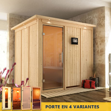 Sauna finlandais Anastasie - 68 mm avec porte en verre graphite et cadre led
