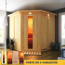 Sauna finlandais Ginette- 68 mm avec porte en verre graphite et cadre led