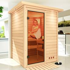 Sauna finlandais Gioia en solide 38 mm avec porte en verre bronzé et cadre led