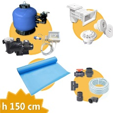 Kit équipement piscine rectangulaire h. 150 , + Membrane piscine,