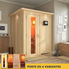 Sauna finlandais Renée- 68 mm avec porte en verre graphite et cadre led
