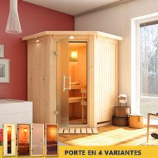 Sauna finlandais Odette- 68 mm avec porte en verre graphite et cadre led